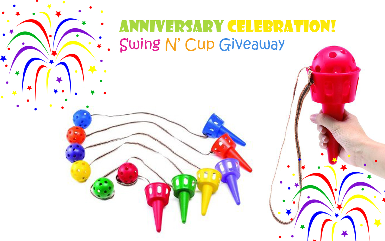 Celebrating our one year anniversary with a Swing N' Cup Giveaway. Don't wait to Enter!